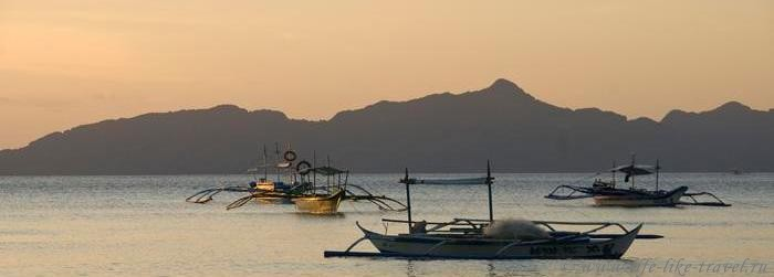 Филиппины, остров Палаван, Эль Нидо, Закат на пляже Корон-Корон