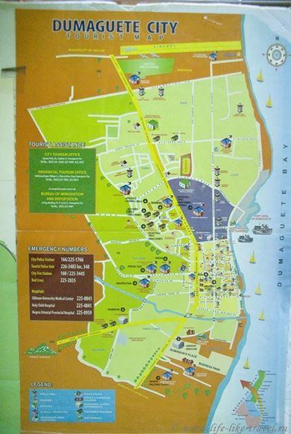 Карта Думагете, остров Негрос, Филиппины