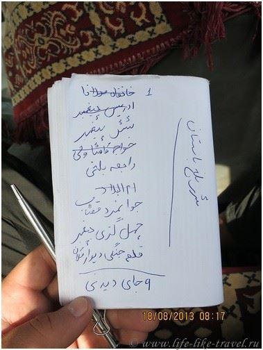 Список достопримечательностей на языке дари, Афганистан